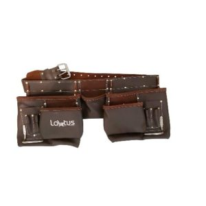 12 Pocket Oil Tanned Double Leather Tool Belt /& Nails Riveted Toolbelt Pouch
