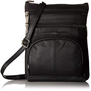 Roma Leathers Genuine Leather Multi-Pocket Crossbody Purse Bag