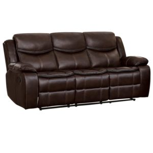 Homelegance Bastrop 88 Manual Double Reclining Sofa, Brown