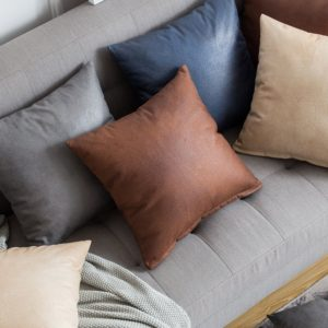MIULEE Pack of 2 Decorative Faux Leather Modern Pillow