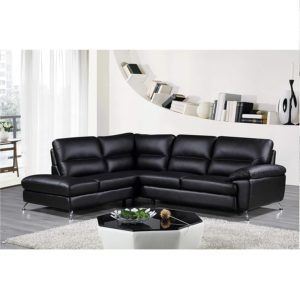 Cortesi Home Contemporary Boston Genuine Leather Sectional Sofa
