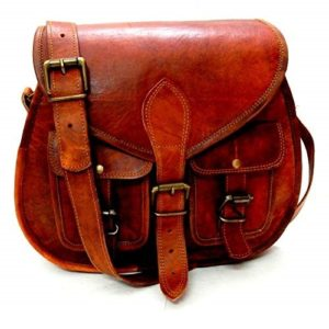 Women Vintage Style Genuine Brown Leather Crossbody Shoulder Bag