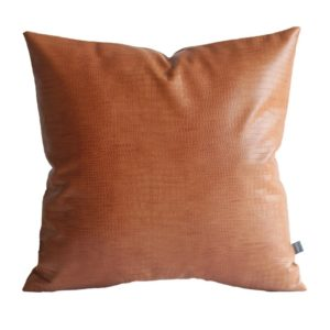 Kdays Faux Leather Crocodile Tan Pillow Cover Throw Pillow