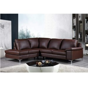 Cortesi Home Contemporary Dallas Genuine Leather Sectional Sofa