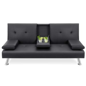 Walsunny Modern Faux Leather Couch, Futon Sofa