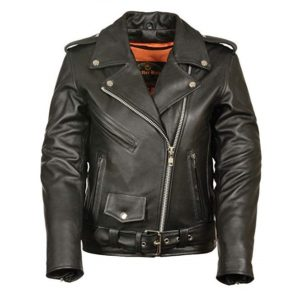 Ladies Leather Motorcycle Leather Jacket Plain Sides