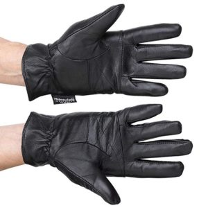 Classic Womens Black Leather Gloves with Thinsulate Lining by DEBRA WEITZNER