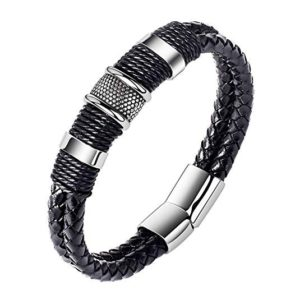 OnairMall Mens Genuine Leather Bracelet Stainless Steel Magnetic Buckle Black Wrist Cuff Bangle