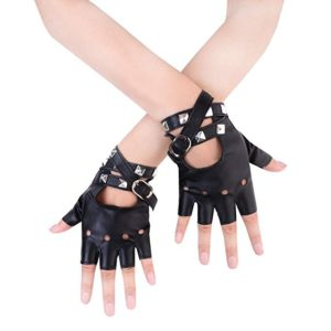 JISEN Women Punk Rivets Belt Up Half Finger PU Leather Performance Gloves