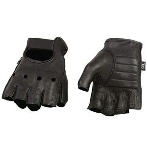 Shaf International SH851-BLK-XL Deer Skin Fingerless Gloves with Gel Padded Palm