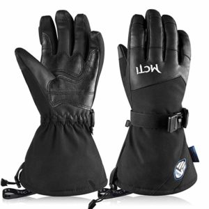 Mens Ski Gloves Waterproof Winter Snowboard Touch Screen PU Leather Widen Cuff Gloves