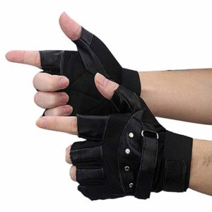 Coromose® Men Soft Leather Driving Motorcycle Biker Fingerless Warm Gloves
