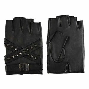 FIORETTO Mens Leather Fingerless Gloves, Unlined Half Finger Driving Gloves