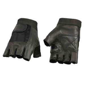 Milwaukee Leather Mens Leather Mesh Combo Fingerless Gloves