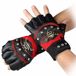 STUDYY Studded Gloves Steampunk Gothic Gloves Punk Costume Rivet Motorcycle Car Driving Gloves Captain Fingerless Mittens