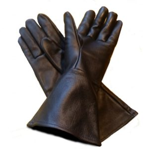 Leather Gauntlet Gloves Black Large Long Arm Cuff