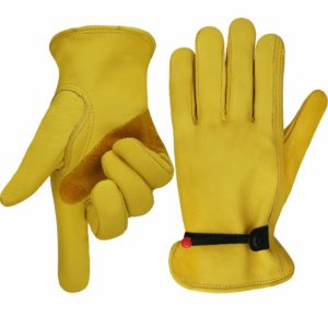 OLSON DEEPAK Work gloves Leather Gardening Glove with tape Wrist Closure, Garden Gloves