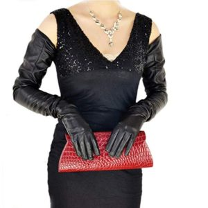 long plain style top quality leather opera gloves