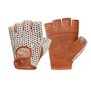 Prime Sports Retro Leather Crochet Cycling Gloves