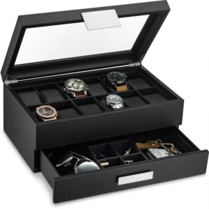 Glenor Co Watch Box with Valet Drawer for Men