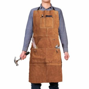 Leather Work Shop Apron with 6 Tool Pockets