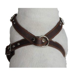 Brown Genuine Leather Dog Harness, Medium