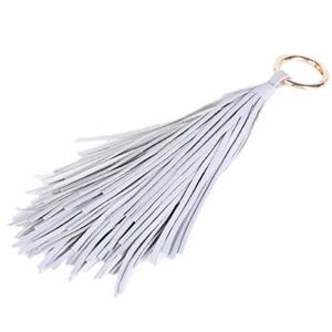 ZOONAI Women Leather Tassel Keychain Car Keyring Holder Bag Wallet Purse Decorations