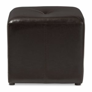 Baxton Studio Brown Lave Cube Shaped Bonded Leather Ottoman