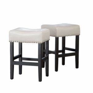 Christopher Knight Home Chantal Backless Ivory Leather Counter Stools wChrome Nailheads