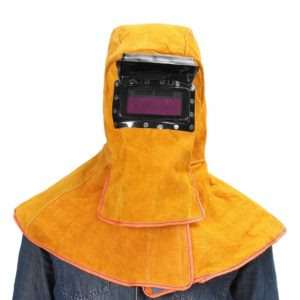 Sundlight Yellow Solar Welding Helmet Hood Mask Helmet Cowhide Split Leather Auto Darkening Filter Lens Protection
