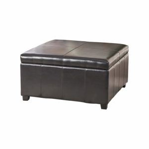 Christopher Knight Home Living Berkeley Brown Leather Square Storage Ottoman