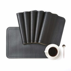DOLOPL Black and Brown Placemat PU Leather Placemats Set of 6