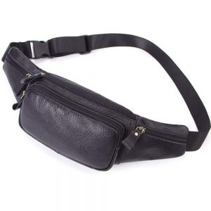 Men Women Genuine Leather Fanny Pack, Cowhide Leather Multifunction Waist Pack