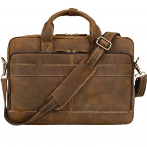 Jack&Chris Mens Genuine Leather Briefcase Messenger Bag Attache Case
