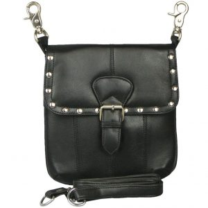 Texcyngoods Leather Hip Waist Bag and Cross Body Purse with Studs and Buckle