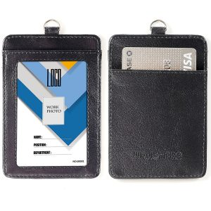 Badge Holder, Wisdompro 2-Sided PU Leather ID Badge Card Holder Wallet Case