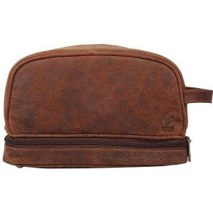 Genuine Leather Travel Cosmetic Bag