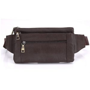 AoMagic Genuine Leather Waist Pouch Hip Belt Bags Men & Women Slim Fanny Pack Purse