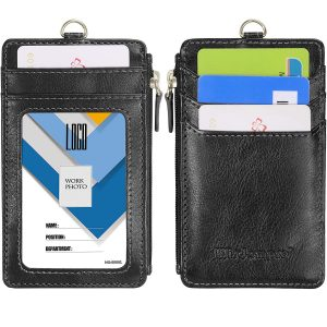 Badge Holder with Zipper, Wisdompro 2-Sided PU Leather ID Badge Holder