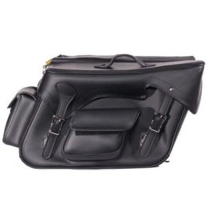 LARGE QUICK DETACH PLAIN MOTORCYCLE PVC LEATHER SADDLEBAGS