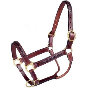 Tough 1 Royal King Braided Leather Halter, Brown