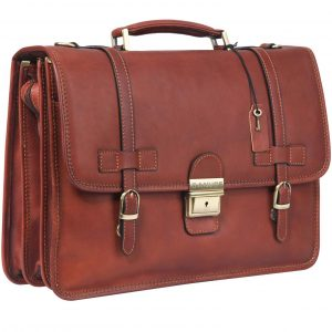 Banuce Vintage Full Grains Italian Leather Briefcase for Men Lock Lawyer Attache Case