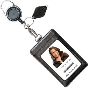 Genuine Leather ID Badge Holder Wallet