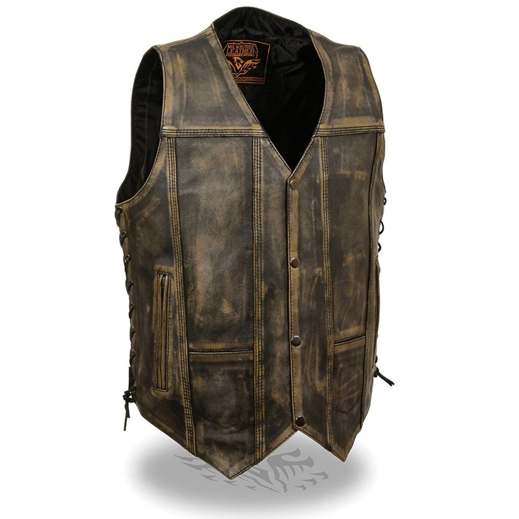 Mens Distressed Leather 10 Pocket Vest Brown