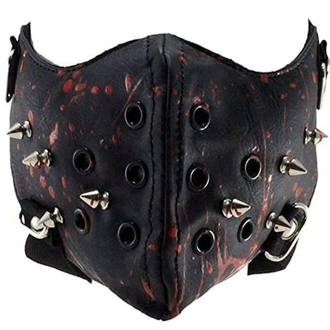 Steampunk Leather Halloween Mask Half Face Cosplay Mask Biker Men Mask Airsoft Wind Cool Punk Rivets Black Masquerade