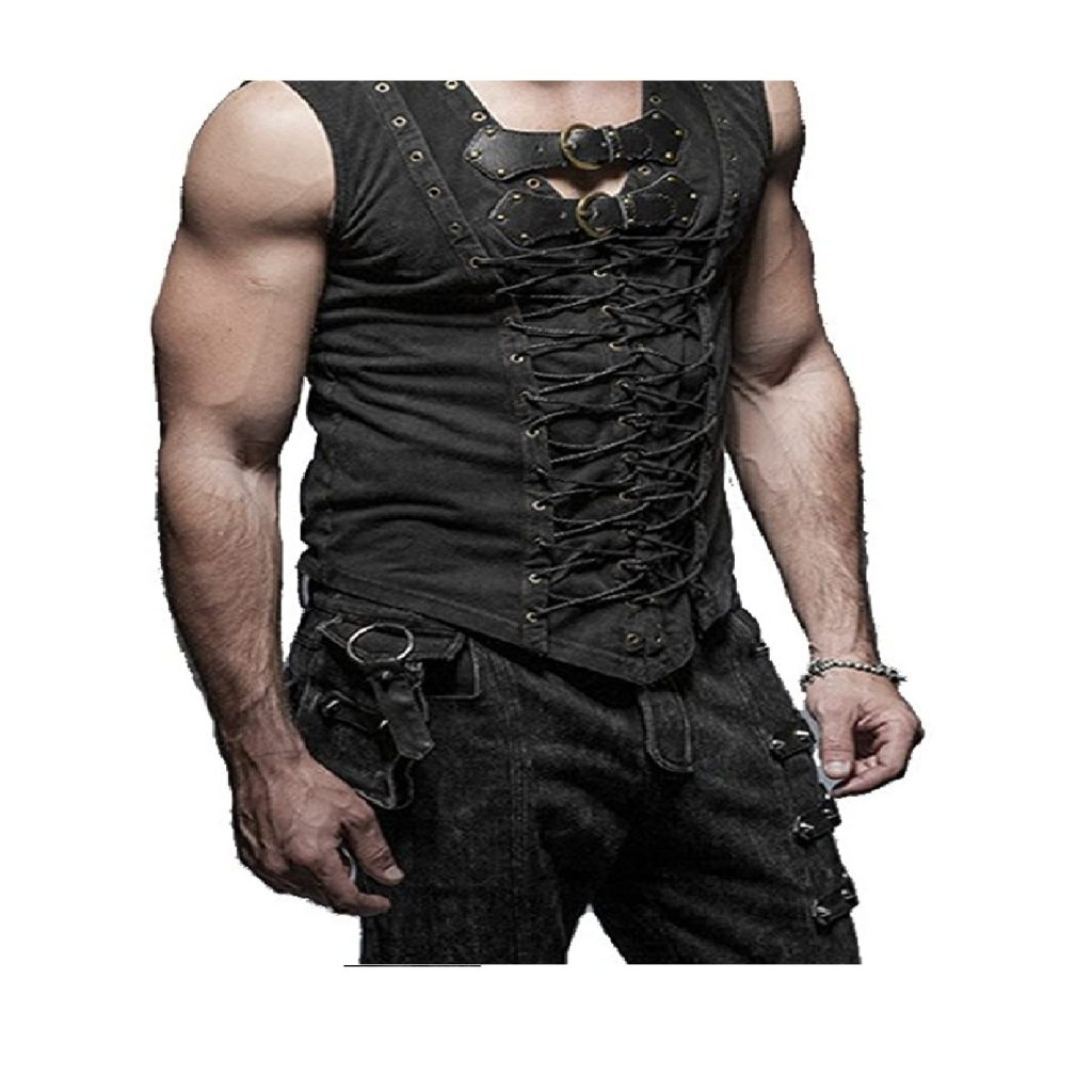 Punk Rock Man Cotton Leather Belt Sleeveless