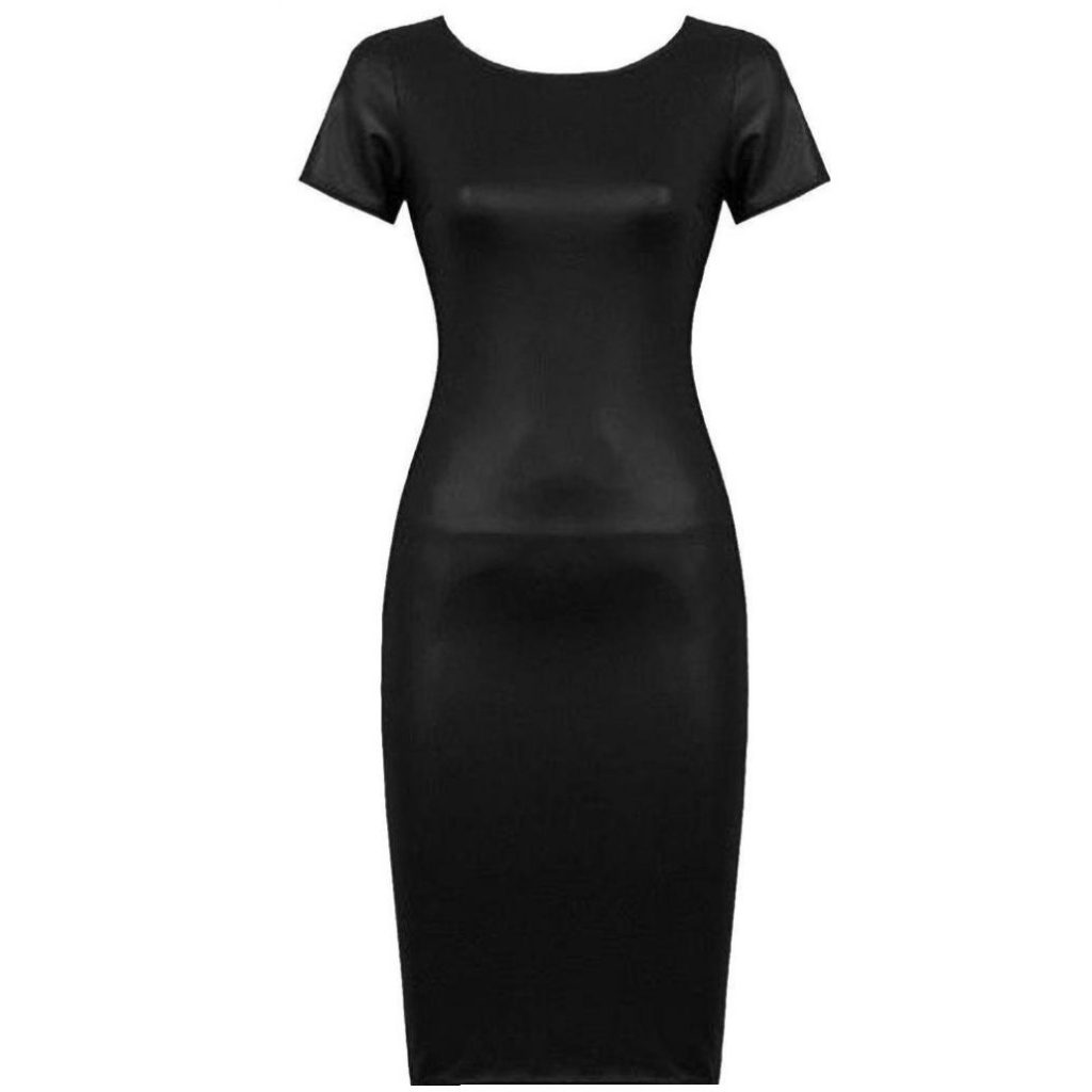 Hot!Faux Leather Dress,ZYooh Women Casual Bodycon Midi Sheath Sexy Skinny Short Sleeve Zipper Dress