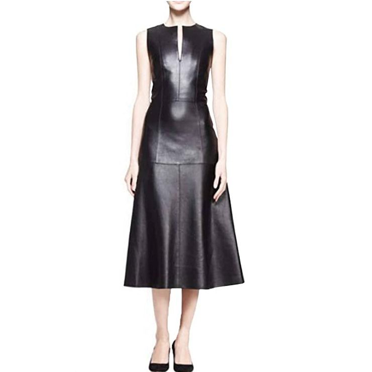 Angel&Lily A-line Skirt Slim Below Knee Faux Leather Dress