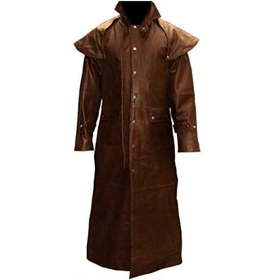 Mens Real Brown Leather Duster Riding Hunting Steampunk Van Helsing Trench Coat
