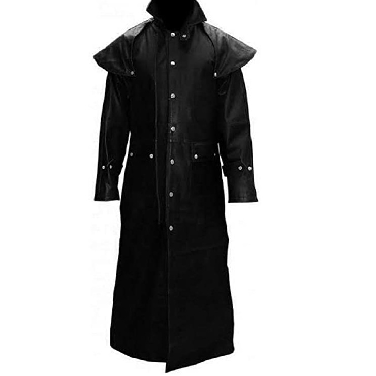 Mens Real Black Leather Coat Duster Riding Hunting Steampunk Trench Coat
